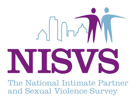 The logo for the National Intimate Partner and Sexual Violence Survey includes large letter spelling out NISVS as well as the full name. Above the words, a skyline and the outline of two human shapes are seen.