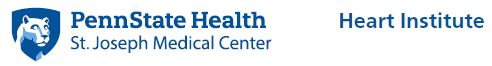"Penn State Health St. Joseph Medical Center logo with white Nittany Lion mascot image in blue shield on the left. Text ""Heart Institute"" is on the right."