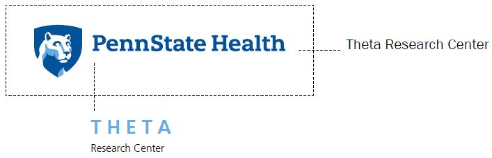 Penn State Health logo with white Nittany Lion mascot image in blue shield. A line extending from the right shows where to place Theta Research Center. A line extending from the bottom shows Theta Research Center with Theta is all capital, light-blue letters.