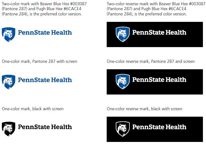 Two-color mark with Beaver Blue Hex #003087 (Pantone 287) and Pugh Blue Hex #6CACE4 (Pantone 284), is the preferred color version. Top left: Penn State Health logo with white Nittany Lion mascot image in blue shield. Two-color reverse mark with Beaver Blue Hex #003087 (Pantone 287) and Pugh Blue Hex #6CACE4 (Pantone 284), is the preferred color version. Top right: Penn State Health logo with white Nittany Lion mascot image in blue shield over a black rectangle. One-color mark, Pantone 287 with screen middle row left, Penn State Health logo with white Nittany Lion mascot image in blue shield. One-color reverse mark, Pantone 287 and screen middle row right: Penn State Health logo with white Nittany Lion mascot image in blue shield over a black rectangle. One-color mark, black with screen bottom row left: Penn State Health logo with white Nittany Lion mascot image in blue shield in black. One-color reverse mark, black with screen bottom row right: Penn State Health logo with white Nittany Lion mascot image in blue shield in black over a black rectangle.