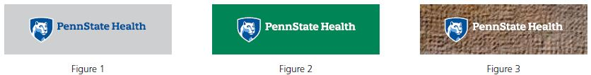 Figure 1 left: Penn State Health logo with white Nittany Lion mascot image in blue shield over a gray rectangle. Figure 2 middle: Penn State Health logo with white Nittany Lion mascot image in blue shield over a green rectangle. Figure 3 right: Penn State Health logo with white Nittany Lion mascot image in blue shield over a brown textured background rectangle.