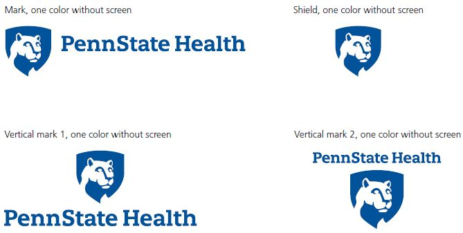 Mark, one color without screen, top left: Penn State Health logo with white Nittany Lion mascot image in blue shield. Shield, one color without screen, top right: White Nittany Lion mascot image in blue shield. Vertical mark 1, one color without screen, bottom left: Penn State Health logo with white Nittany Lion mascot image in blue shield centered above the text. Vertical mark 2, one color without screen, bottom right: Penn State Health logo with white Nittany Lion mascot image in blue shield centered below the text.