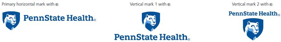 Primary horizontal mark with ®, left: Penn State Health logo with white Nittany Lion mascot image in blue shield on the left and registered trademark symbol. Vertical mark 1 with ® middle: Penn State Health logo with white Nittany Lion mascot image in blue shield centered above text and registered trademark symbol. Vertical mark 2 with ®, right: Penn State Health logo with white Nittany Lion mascot image in blue shield centered below text and registered trademark symbol.