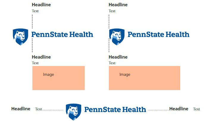 Top left: Penn State Health logo with white Nittany Lion mascot image in blue shield on the left. Dotted lines show alignment of headline and text and image above and below the logo. Top right: Penn State Health logo with white Nittany Lion mascot image in blue shield on the left. Dotted lines show alignment of headline and text and image above and below the logo. Middle: Penn State Health logo with white Nittany Lion mascot image in blue shield on the left. Dotted lines show alignment of headline and text with the logo on left and right.