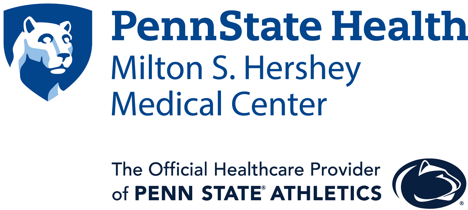 "Penn State Health Milton S. Hershey Medical Center logo with white Nittany Lion mascot image in blue shield above text ""The Official Healthcare Provider of Penn State Athletics"" in black with the Nittany Lion Intercollegiate Athletics logo in black to the right."