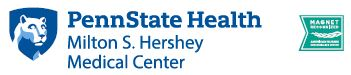 Penn State Health Milton S. Hershey Medical Center logo with white Nittany Lion mascot image in blue shield to the left and a green flag magnet logo to the right.