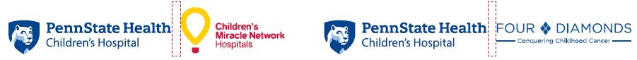 Penn State Health Children's Hospital logo with white Nittany Lion mascot image in blue shield to the right and Children's Miracle Network Hospitals logo to the right. Dotted lines between the logos show appropriate spacing. Bottom right: Penn State Health Children's Hospital logo with white Nittany Lion mascot image in blue shield to the left and Four Diamonds Conquering Childhood Cancer logo to the right. Dotted lines between the logos show appropriate spacing.