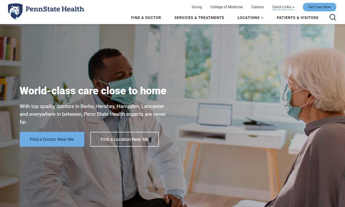 Image of Penn State Health Milton S. Hershey Medical Center website homepage. A woman nurse stands and smiles at a woman patient.