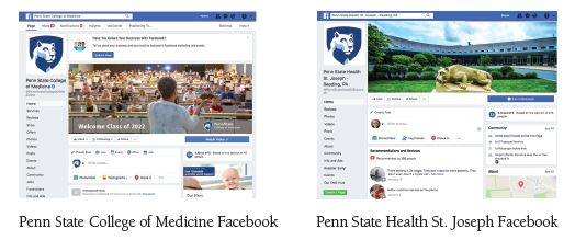 Image of Penn State Health College of Medicine Facebook page. Image shows speaker talking in front of a large audience in an auditorium. Image of Penn State Health St. Joseph Facebook page. Image shows Nittany Lion statue in front of St. Joseph Medical Center.
