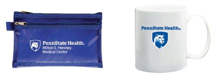 Penn State Health Milton S. Hershey Medical Center logo with white Nittany Lion mascot image in blue shield on left printed on a dark blue zippered coin bag. Right image Penn State Health Milton S. Hershey Medical Center logo with white Nittany Lion mascot image in blue shield on left printed on a coffee mug.