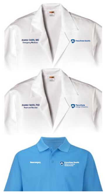Penn State Health logo with white Nittany Lion mascot image in blue shield on left is printed on the front-left side of provider's white coat. The provider's name and department are printed on the right side of the coat. Middle image Penn State Health Milton S. Hershey Medical Center logo with white Nittany Lion mascot image in blue shield on left is printed on the front-left side of provider's white coat. The provider's name and department name are printed on the right side of the coat. Bottom image: Penn State Health Milton S. Hershey Medical Center logo with white Nittany Lion mascot image in blue shield on left is printed on the front-left side of a light blue polo shirt. The department name is printed on the right side of the shirt. All text is in white.