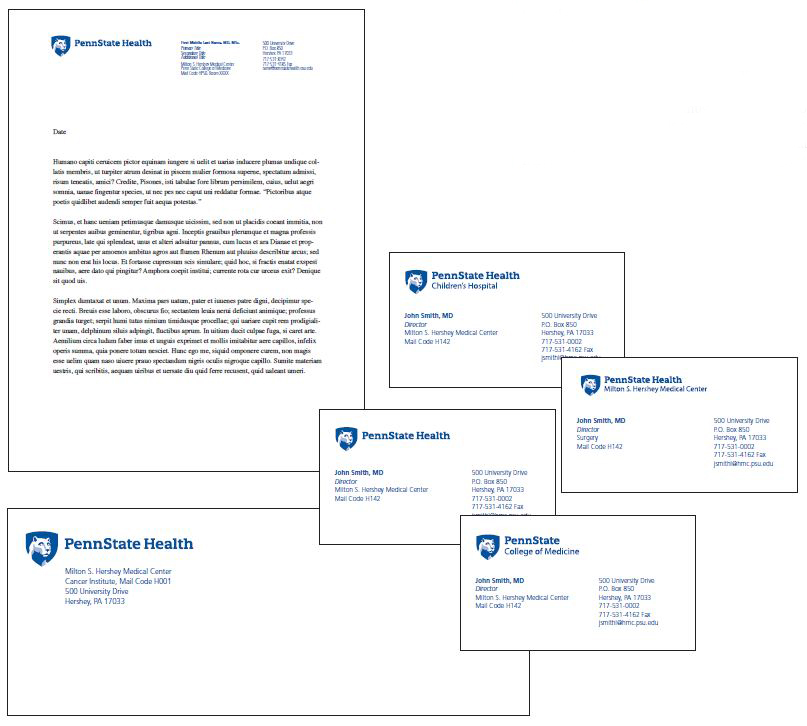 Penn State Health logo with white Nittany Lion mascot image in blue shield to the left at the top left of letterhead, with provider name, title, locations and contact information on the top-right. Right: Penn State Health logo and entity name with white Nittany Lion mascot image in blue shield at the top left of a business card, with provider name, title, locations and contact information across the bottom. Top-left: Penn State Health logo and entity name and white Nittany Lion mascot image in blue shield at the top-left of an envelope.