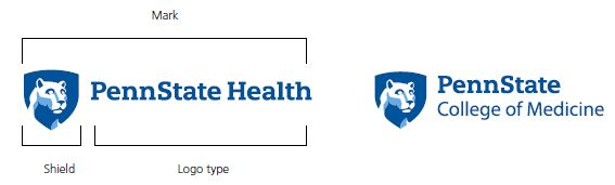 Penn State Health and Penn State College of Medicine logos with Nittany Lion mascot image in blue shield on the left. Lines around Penn State Health logo to indicate the size of the mark, shield, and logo type.