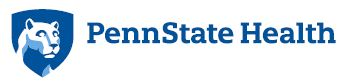 Penn State Health logo with Nittany Lion mascot image in blue shield on the left.