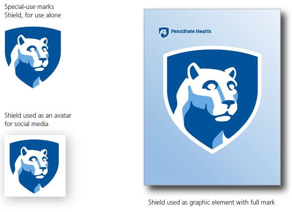 On left, Nittany Lion mascot inside blue shield which indicates special-use masks shield for use alone. On bottom left, Nittany Lion mascot inside blue shield over a white square background which indicates shield used as an avatar for social media. On right, Nittany Lion mascot inside blue shield over a light-blue rectangular background. Small Penn State Health logo on top left which indicates shield used as graphic element for full mark.