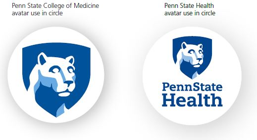 On left, Nittany Lion mascot in blue shield over a white circle which indicates Penn State College of Medicine avatar use in circle. On right, Nittany Lion mascot image in blue shield above a Penn State Health logo over a white circle which indicates Penn State Health avatar use in circle.