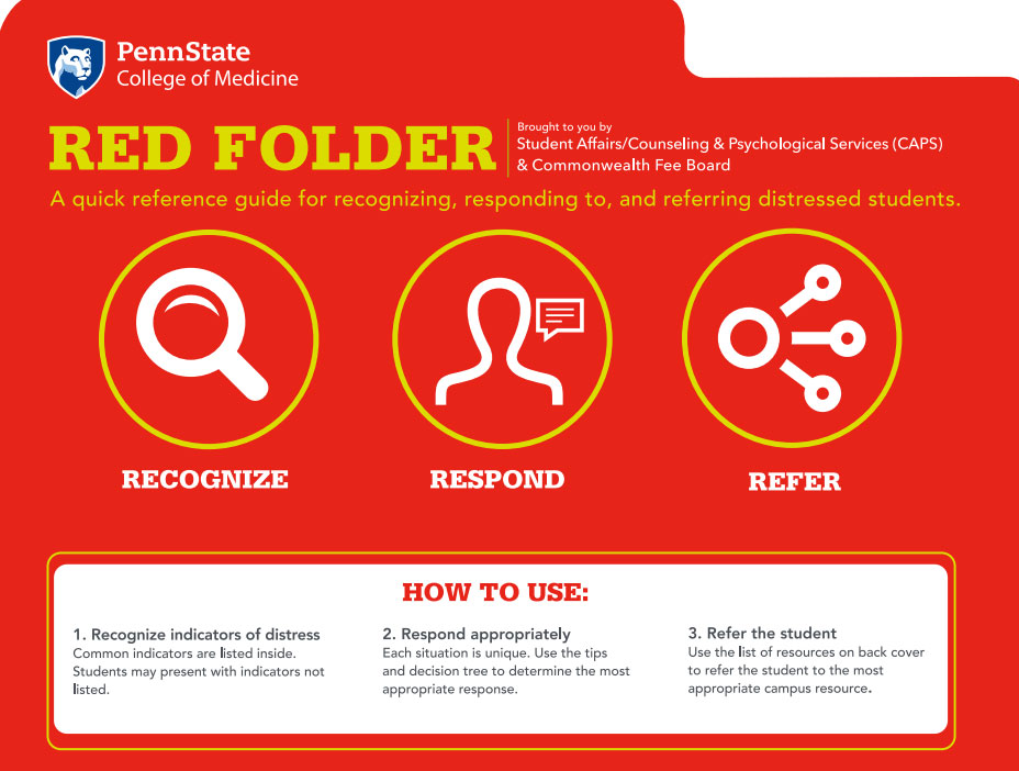 An image shows the front of a file folder labeled RED FOLDER. It describes in large type that it is designed to help recognize, respond to and refer distressed students.