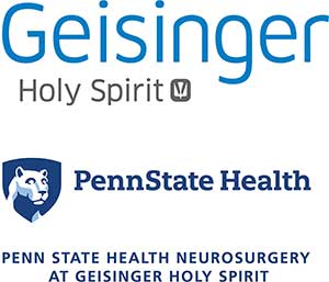 Penn State Health logo with white Nittany Lion mascot image in blue shield below and Geisinger Holy Spirit logo above.