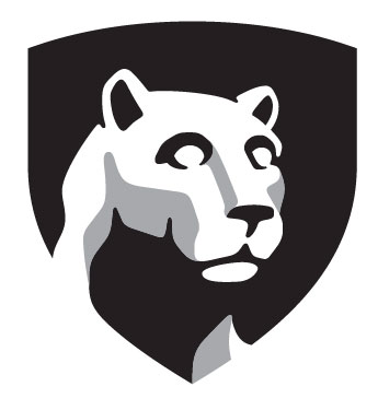 Penn State's signature shield includes the head of its Nittany Lion mascot.