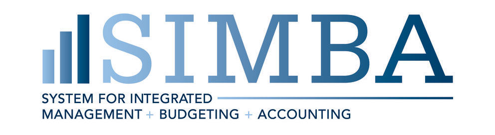 The logo for Penn State's SIMBA project includes the name with three colored bars to the left of it, with each bar taller than the one before. Below the name it says System for Integrated Management and Budgeting and Accounting